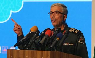 Iranian Armed Forces Chief of Staff Major General Mohammed Hussein Baqeri speaking in Tehran, Feb. 2021