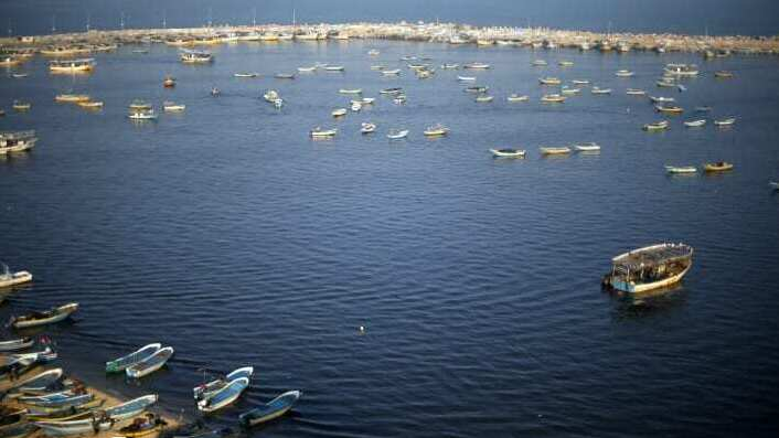 Palestinian fishing boats off the coast of the Gaza Strip