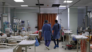 shows a general view of nurses and patients at the COVID-19 coronavirus intensive care unit , at the Turkish-Palestinian Friendship Hospital in Gaza
