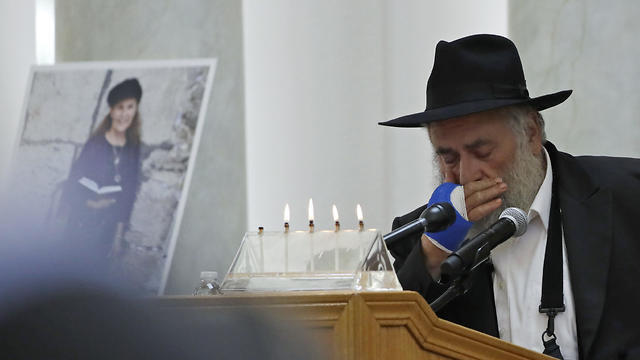 Rabbi Yisroel Goldstein of Chabad of Poway synagogue presides over a memorial service for congregant Lori Gilbert, who was shot dead in an anti-Semitic attack at the California house of prayer in April 2019