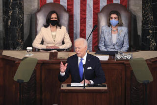 U.S. President Joe Biden speaks in the chamber of the House of Representatives