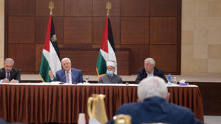 Palestinian President Mahmoud Abbas during a Fatah faction meeting in Ramallah on Thursday
