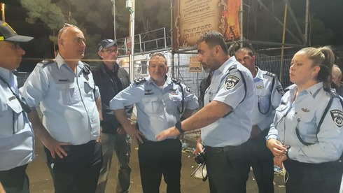 Police Commissioner Kobi Shabtai (center) with other high ranking officers at Mount Meron hours before fatal crush
