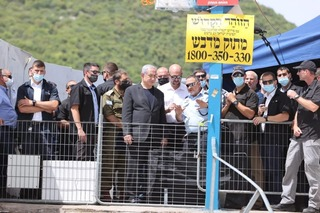 Prime Minister Benjamin Netanyahu visits the scene of the tragedy on Mount Meron on Friday morning