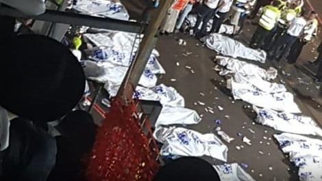 Bodies of the dead in the Meron disaster
