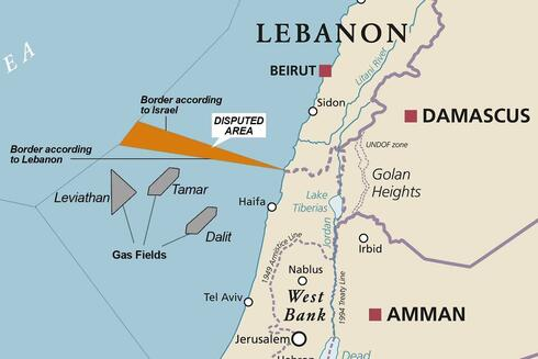 A map showing the territorial maritime dispute between Israel and Lebanon
