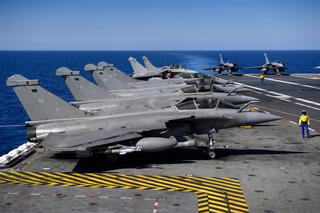 Marine Rafale fighter jets on the deck of the French aircraft carrier Charles de Gaulle