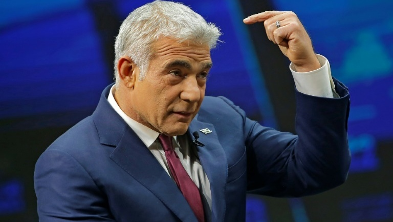 Yair Lapid speaking during an interview in Jerusalem on March 7, 2021