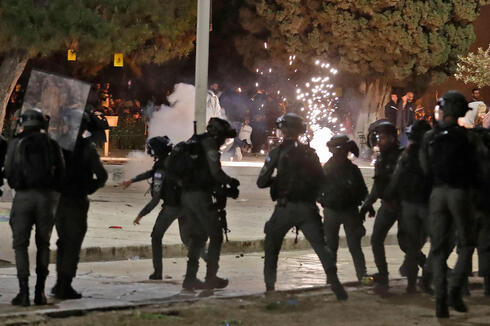 Israeli riot police deployed to quell riots in the Al-Aqsa mosque compound last month