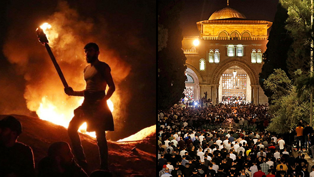 A man holding a torch in Gaza during protest, Palestinians at Temple Mount