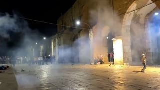 Police fire tear gas and stunt grenades during riots outside the al-Aqsa mosque in Jerusalem last week