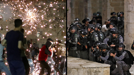 Protesters and police during clashes on Temple Mount