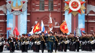 Russian service members and cadets march during a military parade on Victory Day, which marks the 76th anniversary of the victory over Nazi Germany in World War Two, in Red Square in central Moscow