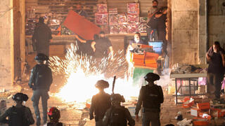Palestinians clash with Jerusalem police at the Damascus Gate to the Old City on Saturday