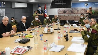 Defense Minister Benny Gantz, Prime Minister Benjamin Netanyahu and IDF Chief of Staff Aviv Kochavi attend a situation assessment in southern Israel, May 11, 2021