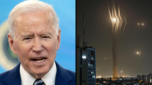 U.S. President Joe Biden; A volley of rockets fired at Israeli cities from the Gaza Strip