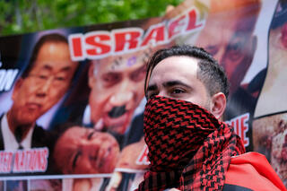 Pro-Palestinian activists rally in Los Angeles during conflict between Israel and Gaza terror groups in May