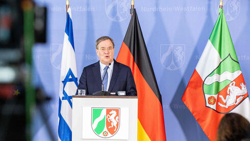 North Rhine-Westphalia's State Premier and leader of the Christian Democratic Union (CDU) Armin Laschet addresses a press on protective measures for Jewish institutions in