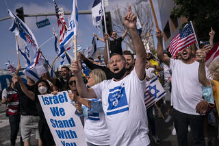 Pro-Israel rally in Los Angeles, California during latest round of fighting in Gaza