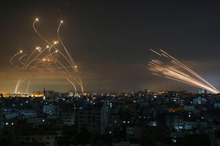 Iron Dome activates in southern Israel as rockets are fired from northern Gaza during the May 2021 conflict