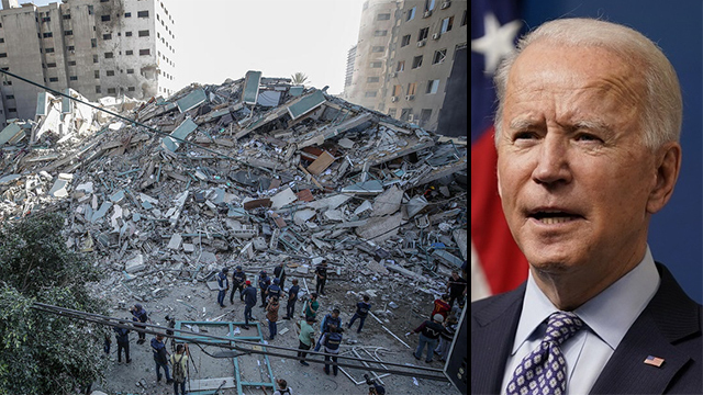 Damage in Gaza following IDF strike and President Biden