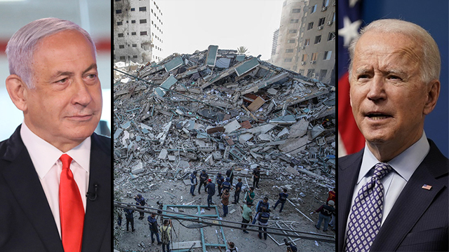 L-R: Prime Minister Benjamin Netanyahu, the ruins of a building brought down by the IDF on Saturday in Gaza and U.S. President Joe Biden