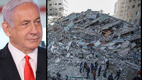 Prime Minister Benjamin Netanyahu and remains of the building that housed international press in Gaza
