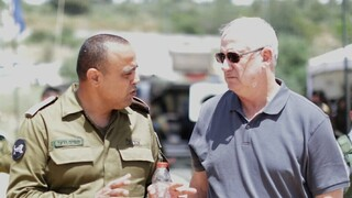 Defense Minister Benny Gantz with IDF chief of Central Command Maj. Gen. Tamir Yadai on Saturday