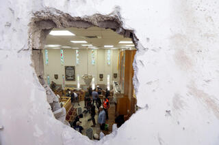 A rocket strike on a synagogue in Ashkelon on Sunday