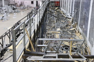 The collapsed bleacher in Carlin Synagogue in Givat Zeev