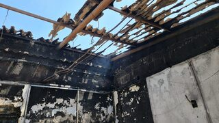 The charred remains of Beit Yisrael synagogue in Lod