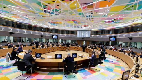 General view of European Union ambassadors with EU foreign policy chief Josep Borrell during special video conference of EU foreign ministers to discuss recent developments in the Middle East, in particular the ongoing violent confrontation in Israel and the occupied Palestinian Territories, in Brussels, Belgium
