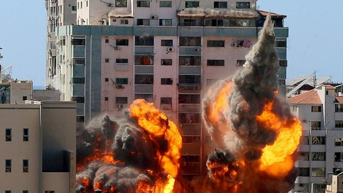 The Israeli strike on the tower housing media outlets in Gaza, on Saturday