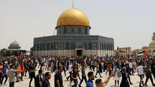 Palestinians protests at the al-Aqsa compound in Jerusalem last month