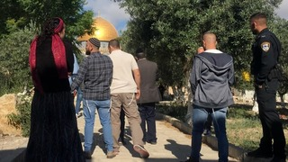Jewish visitors entering the Temple Mount on Sunday