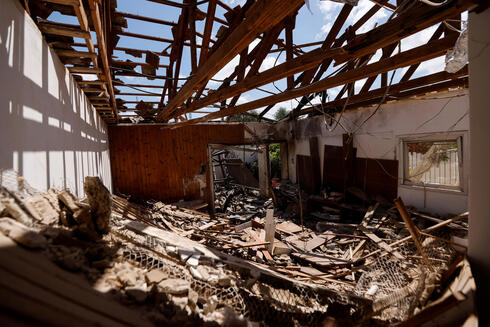 The home of Uri Kimchi destroyed by rocket fire from Gaza