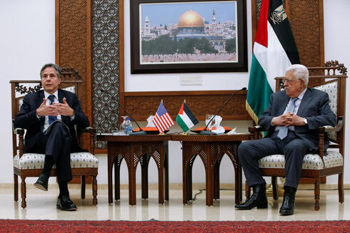 U.S. Secretary of State Antony Blinken and Palestinian President Mahmoud Abbas hold a joint press conference, in the West Bank city of Ramallah