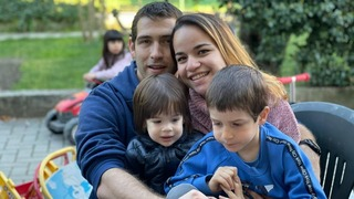 Eitan Biran (right) with his parents and baby brother who perished in May cable car crash in Italy