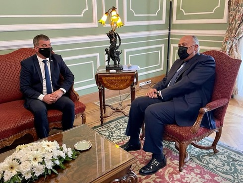 Foreign Minister Gabi Ashkenazi meeting with Egyptian counterpart Sameh Shukry