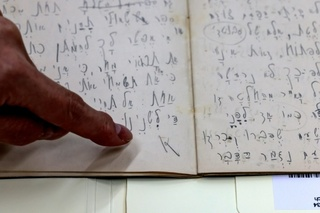 An original manuscript written in Hebrew by Jewish German-speaking novelist and story writer Franz Kafka, is displayed at the National Library of Israel, in Jerusalem