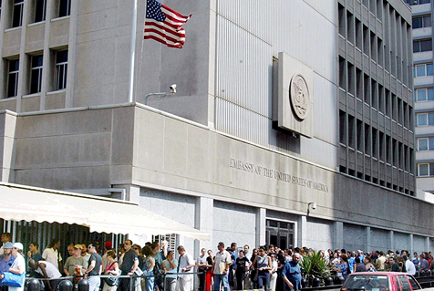 Israelis line up outside the U.S. embassy in Tel Aviv to apply for entry visas in 2019