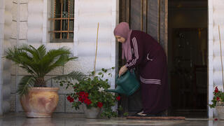 Sanaa Shalaby, estranged wife of Muntasser Shalaby outside her home on the West Bank