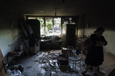 the torched apartment of a Jewish family after recent clashes between Arabs and Jews in the mixed Arab-Jewish town of Lod