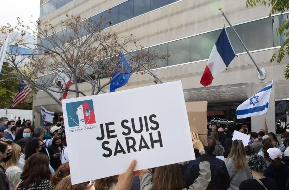The Jewish community holds a protest in front of the Consulate General of France in Los Angeles, California to demand justice for Sarah Halimi on April 25, 2021.