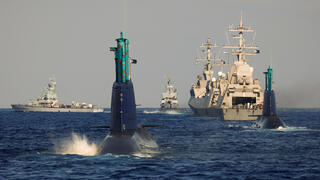 Leviathan and a second Israeli navy submarine are seen during a naval manoeuvre in the Mediterranean Sea off the coast of Haifa, northern Israel