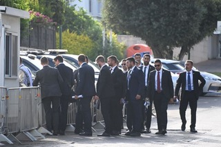 Security outside Naftali Bennett's Ra'anana home on Sunday, hours before he was set to be sworn in as prime minister