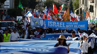 Evangelical Christians march in a demonstration of support for Israel in Jerusalem in 2016