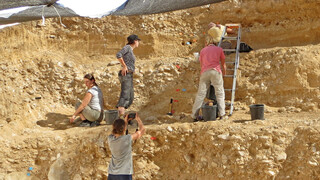 The excavations at the 50,000-year-old Boker Tachtit site in the Negev Desert