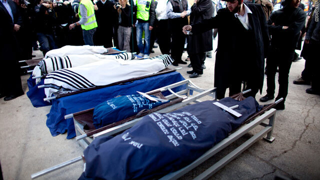 The funeral for the Fogel family who were murdered in a 2011 terror attack in their home