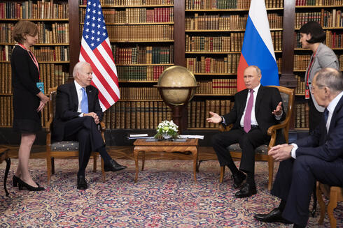 US President Joe Biden, Russian President Vladimir Putin, and Russian Foreign Minister Sergey Lavrov, during the US-Russia summit on Wednesday in Geneva